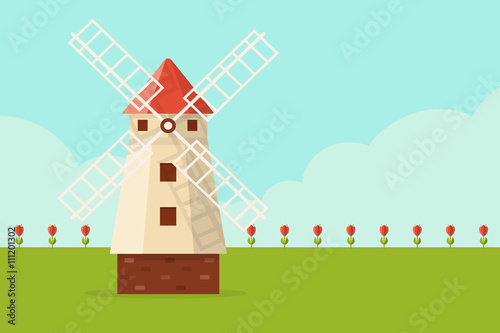 Field of tulips with windmill. Flat design style. Canvas Print