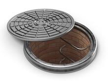 Manhole Cover Lid. 3D Render Illustration Isolated On White Background