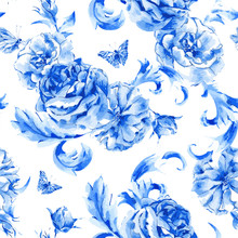 Vintage Seamless Pattern Blue Roses And Butterflies