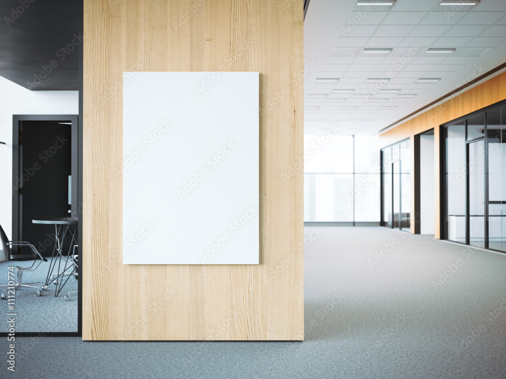 Fototapety, obrazy: Empty white poster on the office wall. 3d rendering