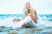 Sensual Beauty Portrait Of Young Blonde Woman. Soft Focus.