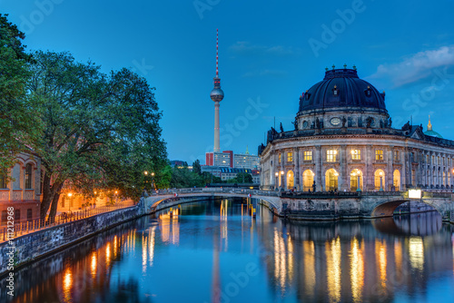 Poster Berlin The Bodemuseum and the television tower in Berlin at dawn