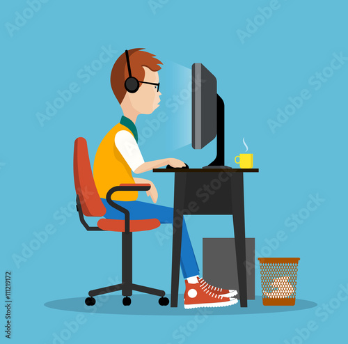 young man at the computer  illustration Poster