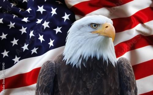 Poster Aigle Bandiera Stati Uniti con aquila