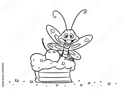 Insect Butterfly Cake Dessert Coloring Pages Illustration