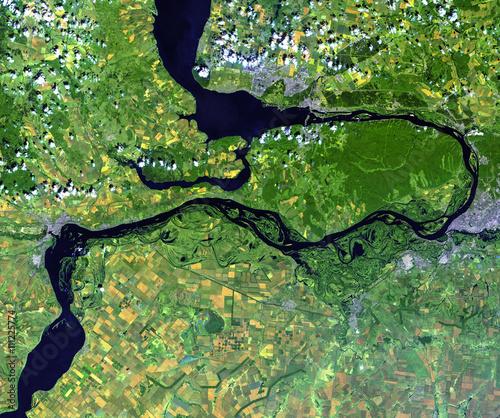 Volga river from Landsat satellite  Elements of this image