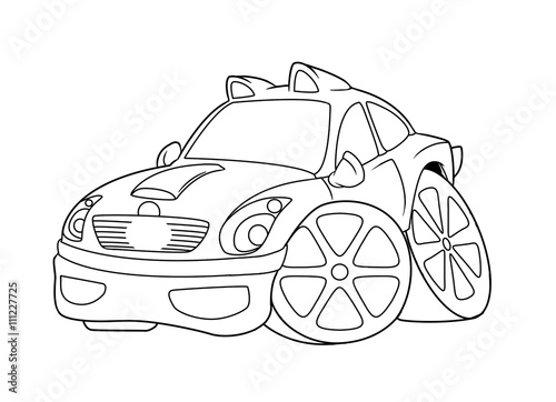 Staande foto Cartoon cars Car coloring pages Cartoon isolated image illustration