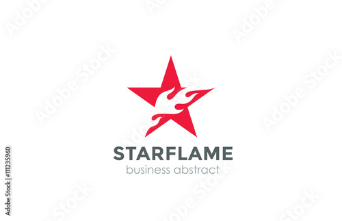 Red Star Burning Fire flame Logo abstract design vector template