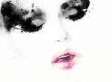 Akwarela ilustracja moda streszczenie. Piękna twarz kobiety - 111239709