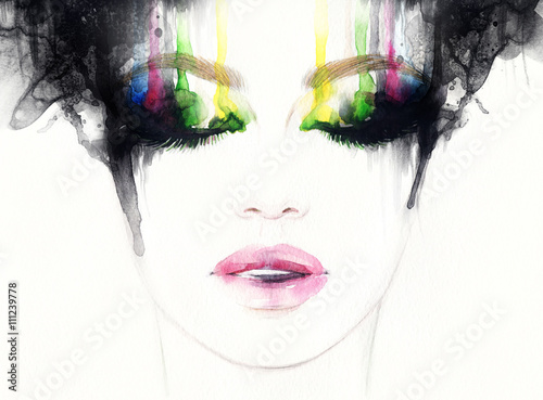 Poster Portrait Aquarelle Abstract fashion watercolor illustration. Beautiful woman face.