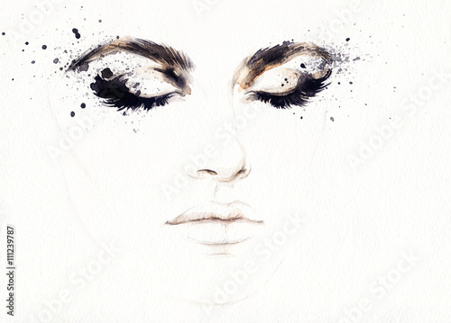 Garden Poster Watercolor Face Abstract fashion watercolor illustration. Beautiful woman face.