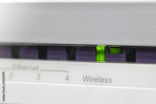 Fotografie, Obraz  ADSL modem with wireless indicator