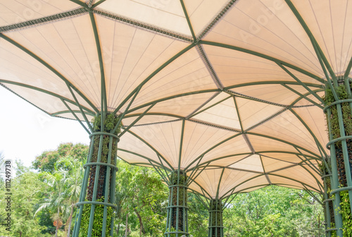 Tuinposter Stadion Inside of fabric roof structure stadium with plant in metal stru