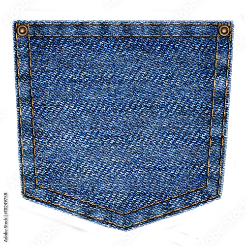 Fotografía  Simple blue jeans pocket isolated on white background