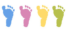 Baby Foot Prints Pastel Color Vector Background