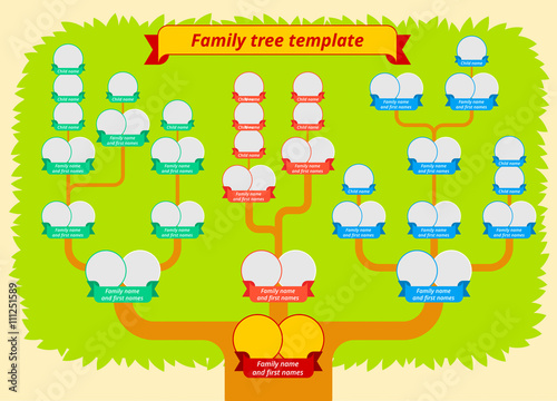Family Tree Template Modern Flat Style Illustration Of With Leaves Branches And Photo