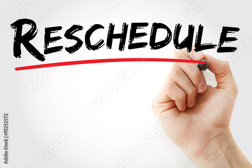 Photo Hand writing Reschedule with marker, business concept background
