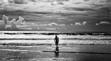 Men Surfer And Ocean. Black-white Fine Art Photo.
