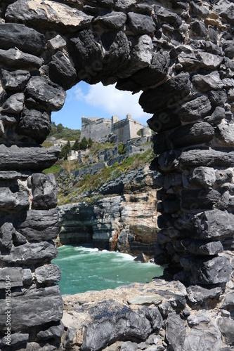 Fotografie, Obraz  Castello Doria View from arch window in Porto Venere, Italy