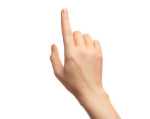 Female hand on white background