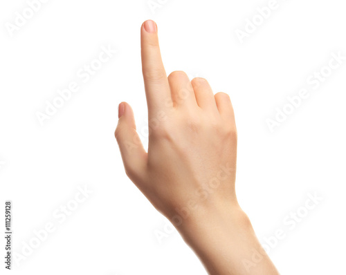 Foto  Female hand on white background