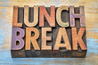canvas print picture - lunch break banner in wood type