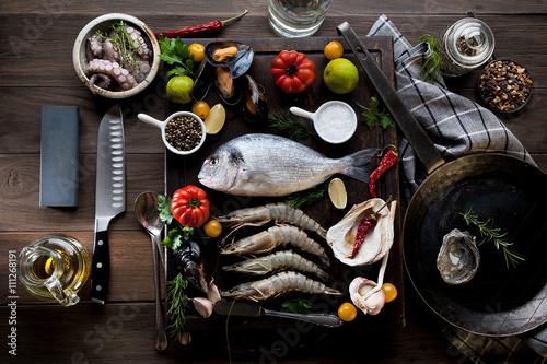 Meeresfrüchte und Fisch Canvas Print