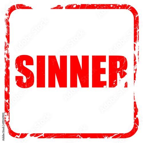 sinner, red rubber stamp with grunge edges Wallpaper Mural