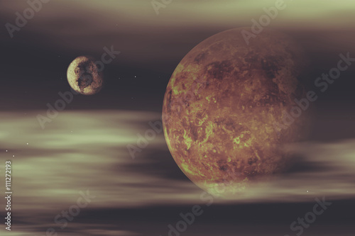Fotografie, Tablou  3D space background with fictional planets