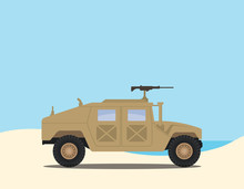 A Humvee Road Truck Military On The Desert With Blue Sky And Sea As Background Vector Graphic