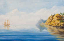 Calm On The Sea. Oil Painting On Canvas