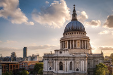 St Paul's Cathedral At Sunset In London, England