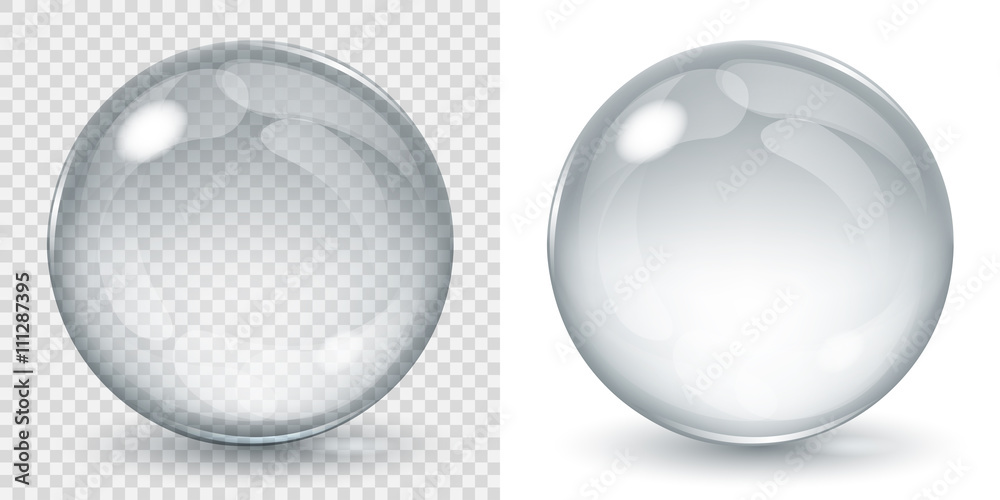 Fototapety, obrazy: Big transparent glass sphere and opaque sphere with glares and shadow. Transparency only in vector file