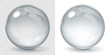 Big transparent glass sphere and opaque sphere with glares and shadow. Transparency only in vector file