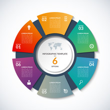 Vector Circle Template For Infographics. Business Concept With 6 Options, Steps, Parts, Segments