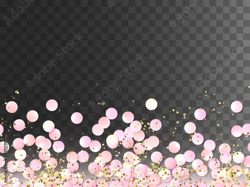 seamless border of pink realistic confetti and gold