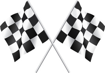 Obraz na Szkle Formuła 1 Waving Checkered Flags