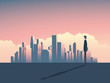 City skyline panorama illustration with businessman watching. High skyscrapers in the background.