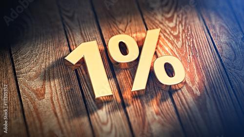 Fotografía  Number 1% on wood planks