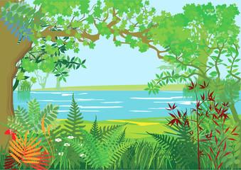 Obraz na PlexiNatur Landschaft mit Bäumen