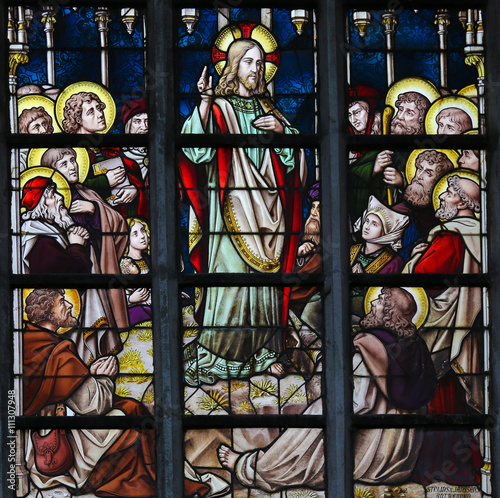 Fotografie, Obraz  Stained Glass - Sermon on the Mount