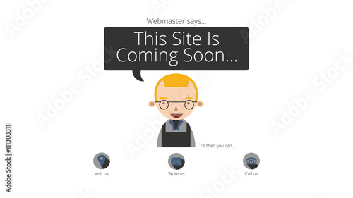 Coming soon webpage with a cute young webmaster with