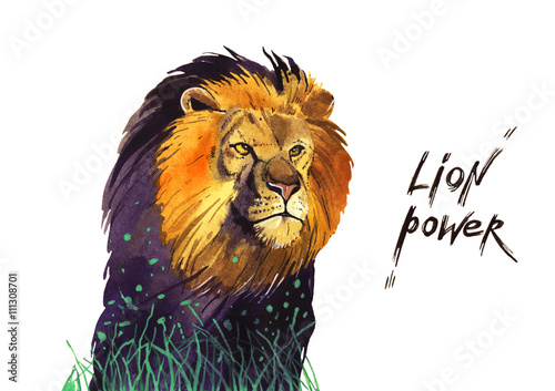 Wall Murals Fairytale World watercolor lion power