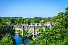 View Of Railway Viaduct Over The River Nidd, Knaresborogh, North Yorkshire, UK