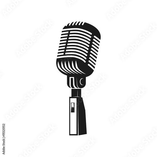 Fotografie, Obraz  Microphone monochrome icon. Element for logo, label, emblem, bad