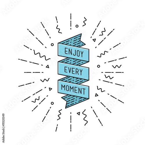 Enjoy every moment, flat design thin line banner