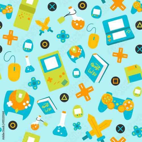 gamepady-kontrolera-gier-wideo-wzor-stylu-plaskiego