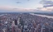 Downtown Manhattan während der Dämmerung