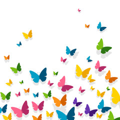 Fototapeta Motyle Vector Illustration of a Background with Colorful Paper Butterflies