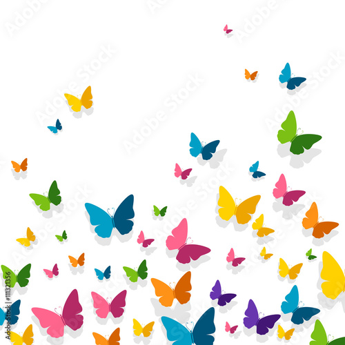 Vector Illustration of a Background with Colorful Paper Butterflies - 111321356